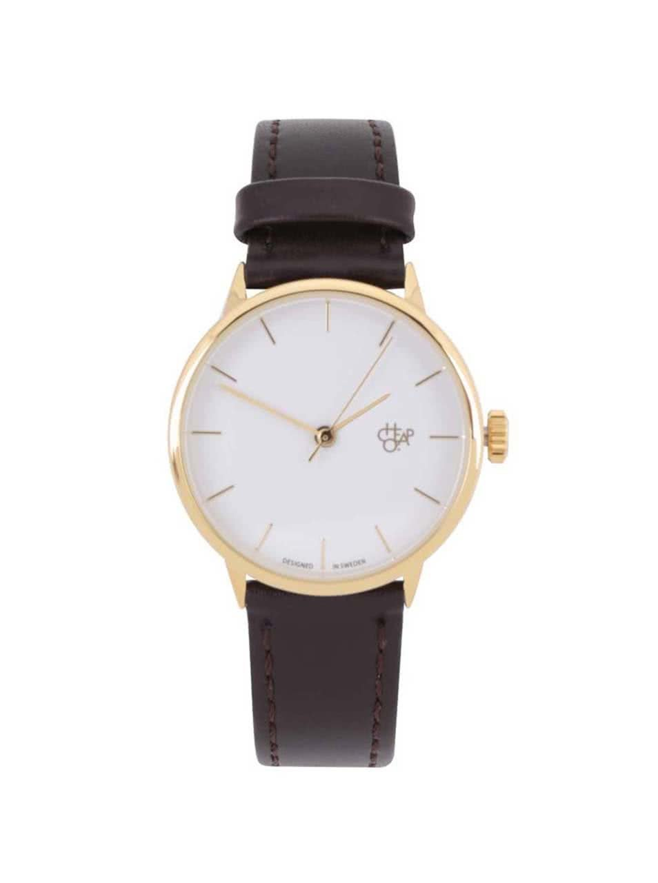 Dámské hodinky ve zlaté barvě s tmavě hnědým páskem z veganské kůže Cheapo Khorshid Mini Gold