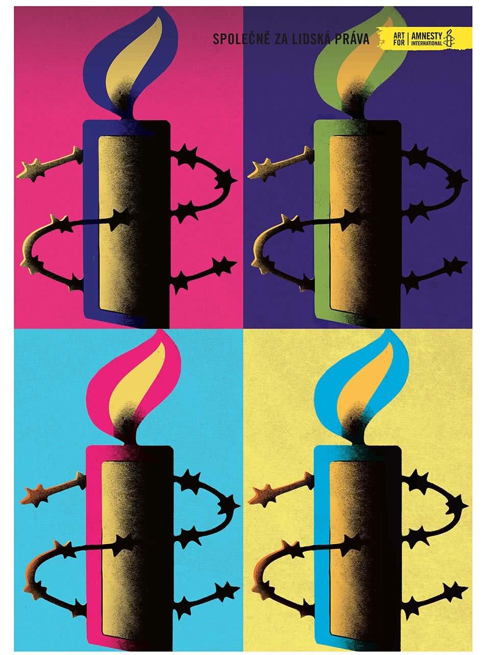 """""""Dobrý"""" plakát Warhol pro Amnesty International"""