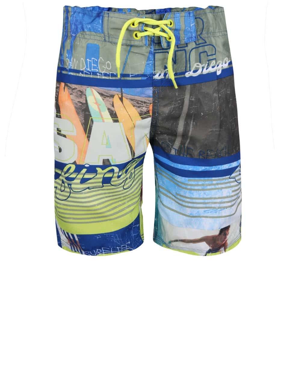 Žluto-modré klučičí plavky s potiskem name it Zoron