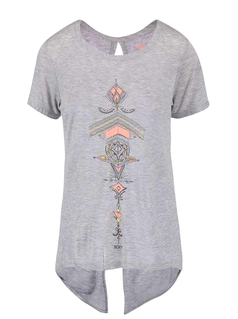 Šedé tričko s potiskem Roxy Sunset Tattoo