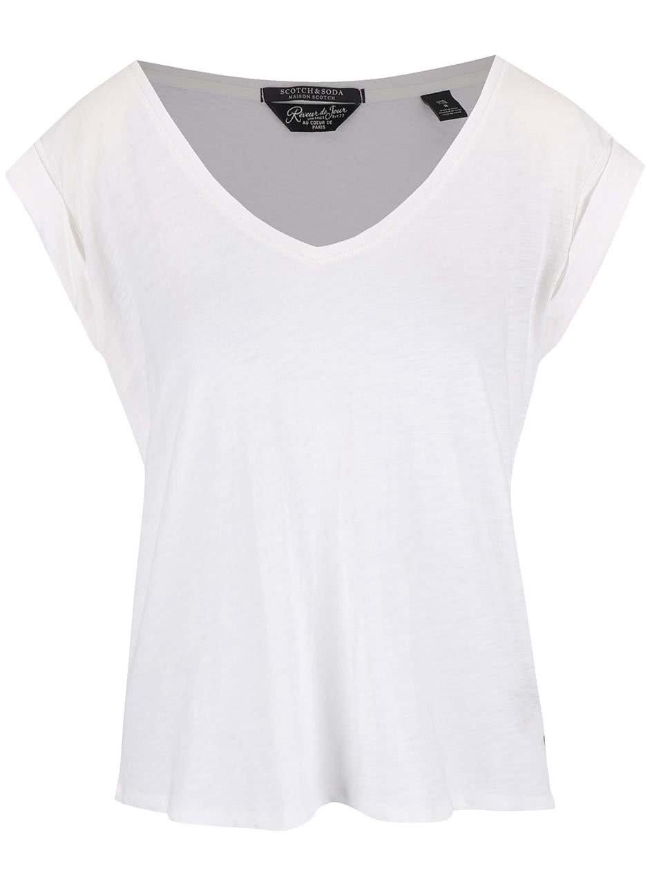 Bílé oversize tričko s výstřihem do V Maison Scotch