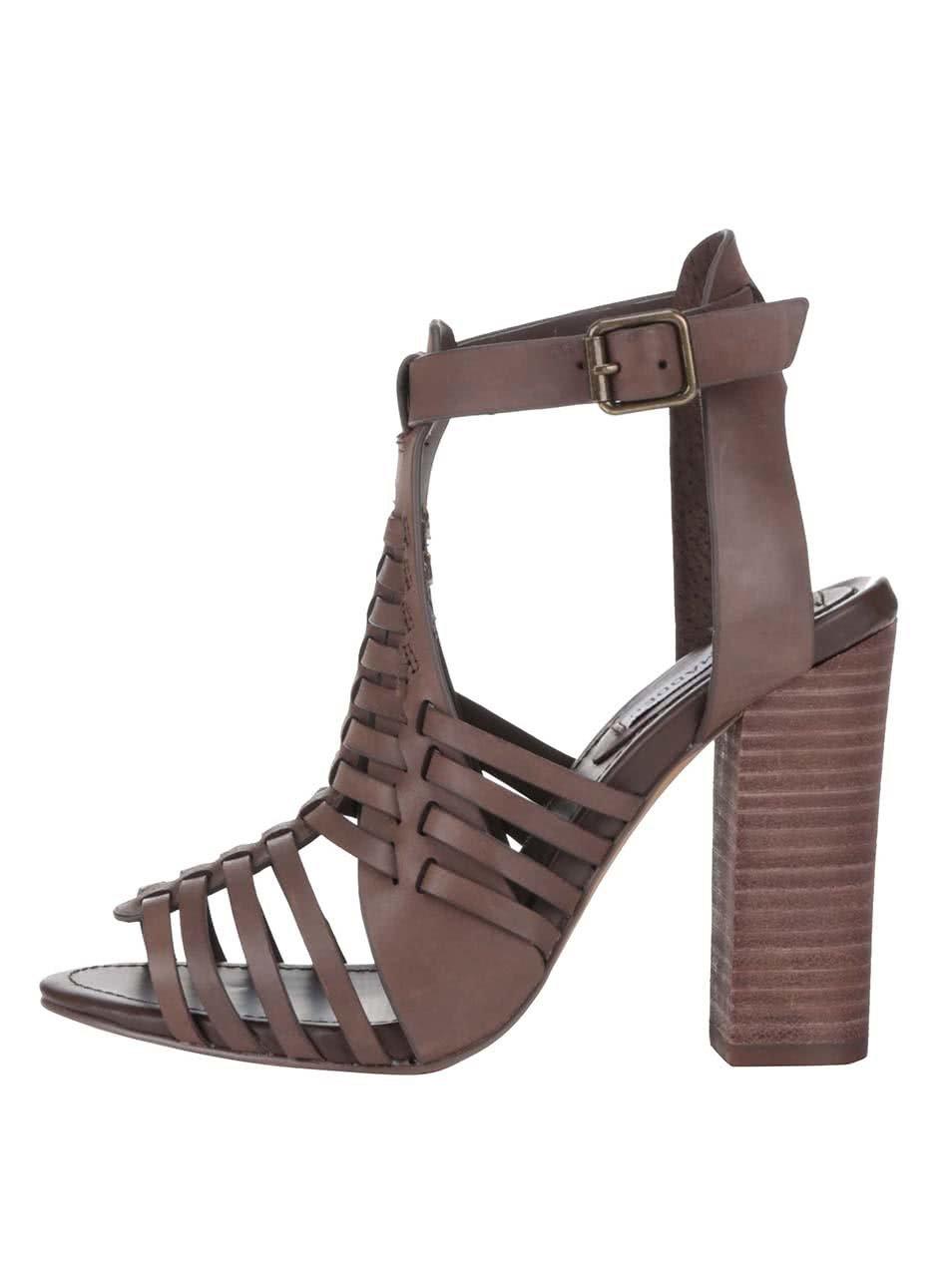 Hnědé kožené dámské sandálky na podpatku Steve Madden
