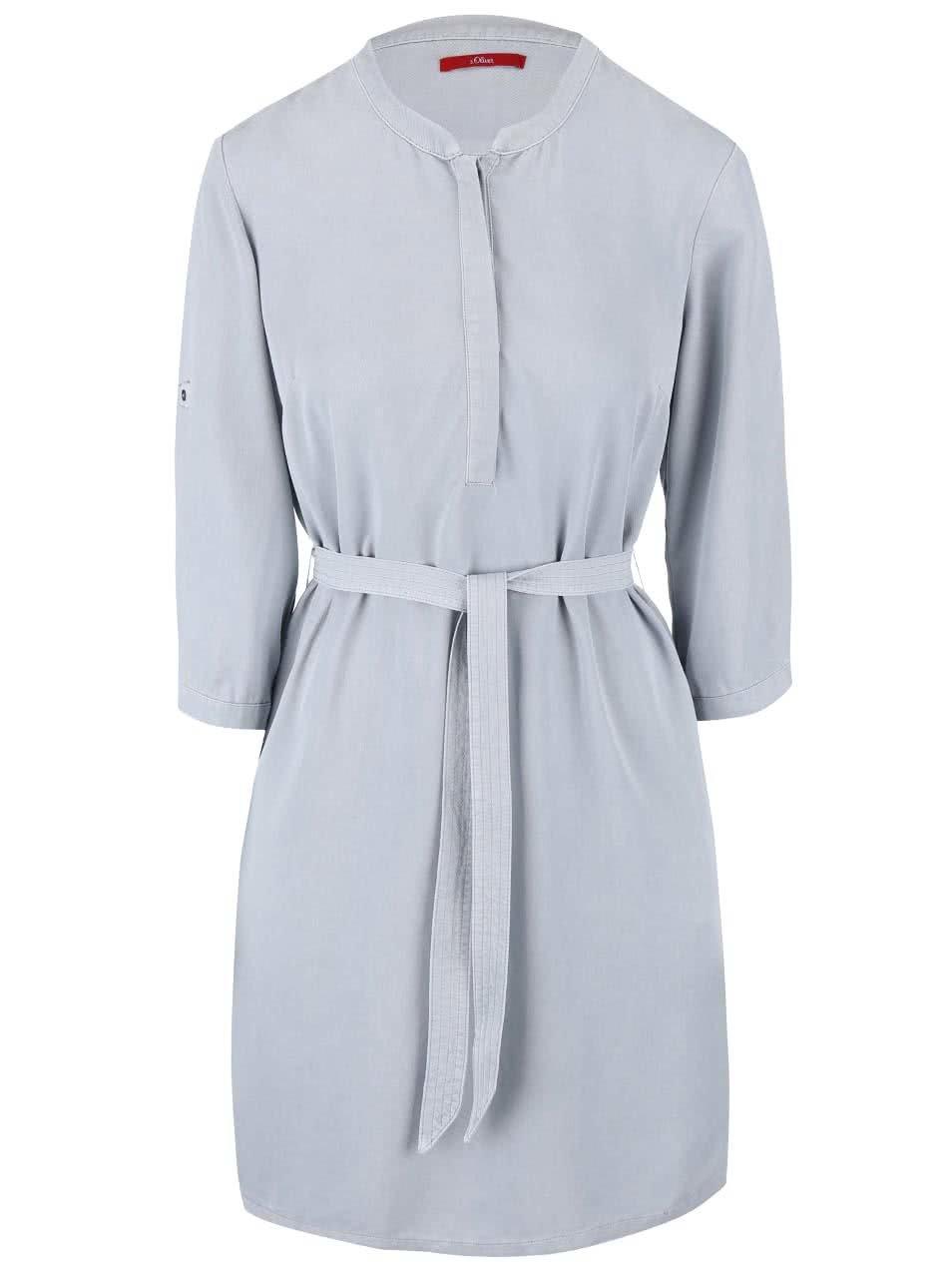 Modrošedé šaty s páskem s.Oliver