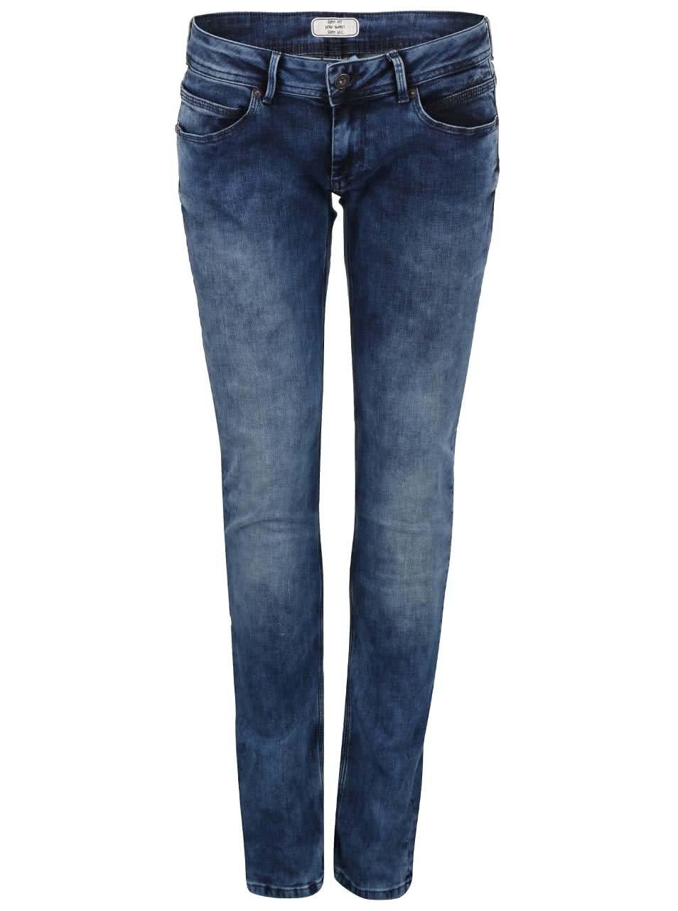 Modré dámské slim fit džíny s nízkým pasem Pepe Jeans Ariel