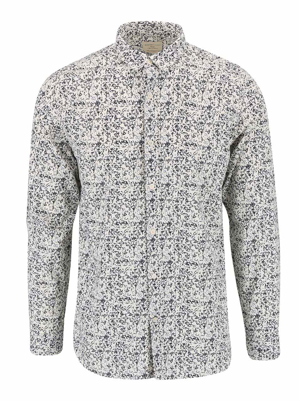 Krémová slim fit košile se vzorem Selected Homme One Riviera