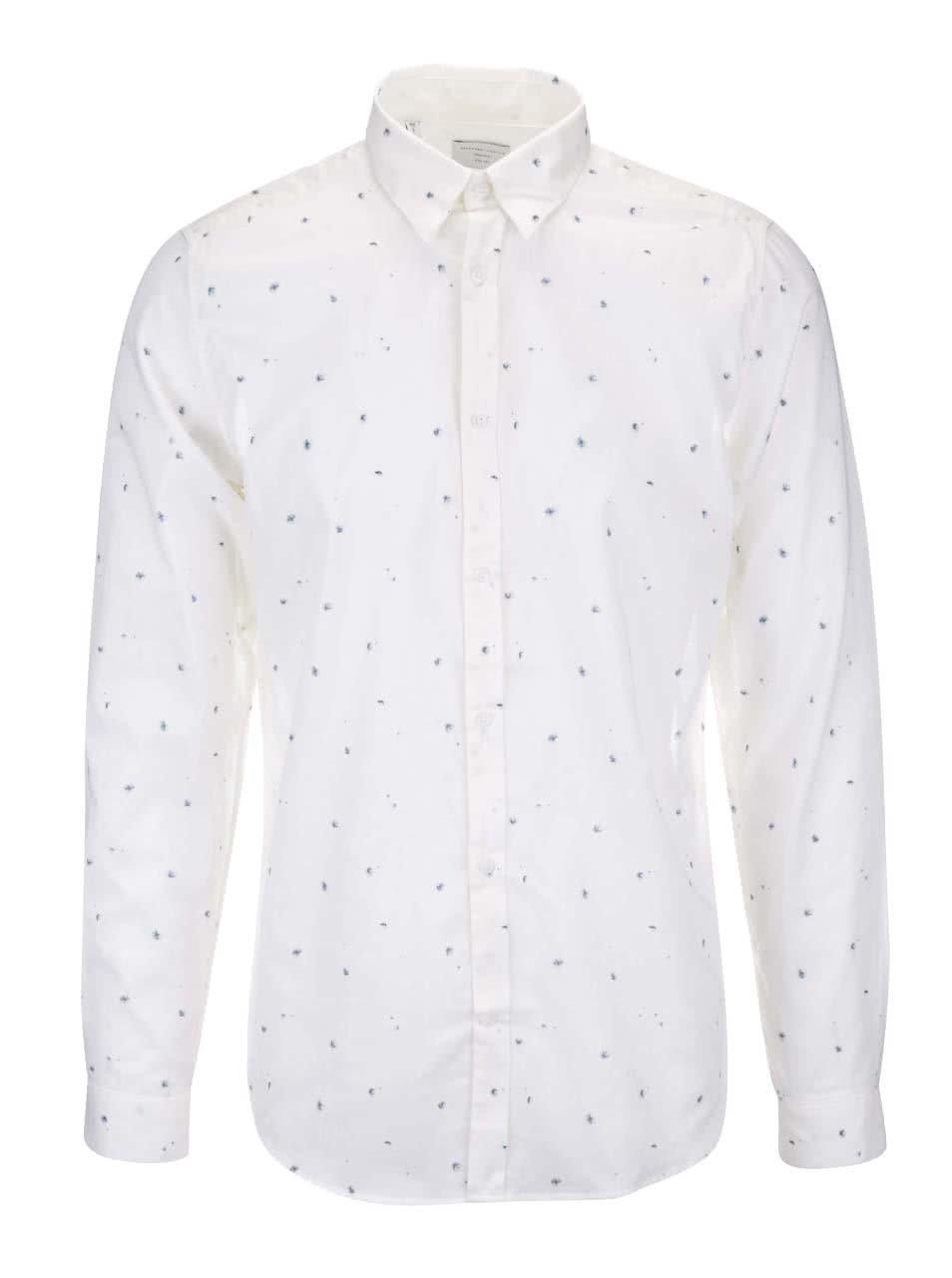 Krémová slim fit košile s potiskem Selected Homme One Aden