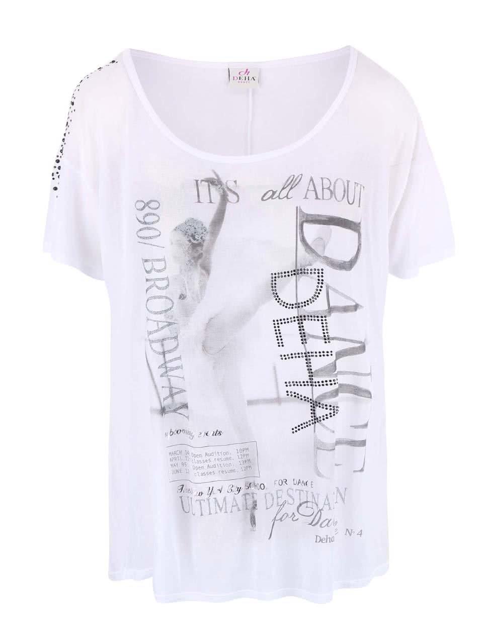 Bílé průsvitné tričko DEHA Dance