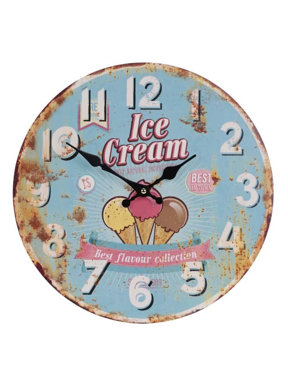 Dřevěné vintage hodiny se zmrzlinou Dakls