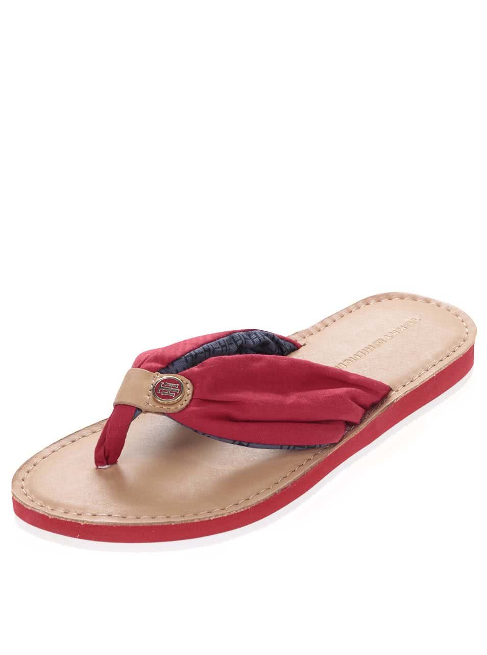 Červené kožené dámské žabky Tommy Hilfiger