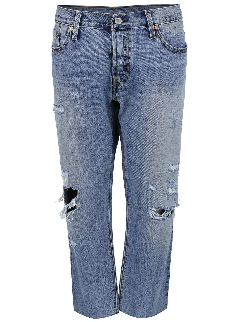 Modré dámské kratší džíny s roztrhaným efektem Levi's® 501 CT