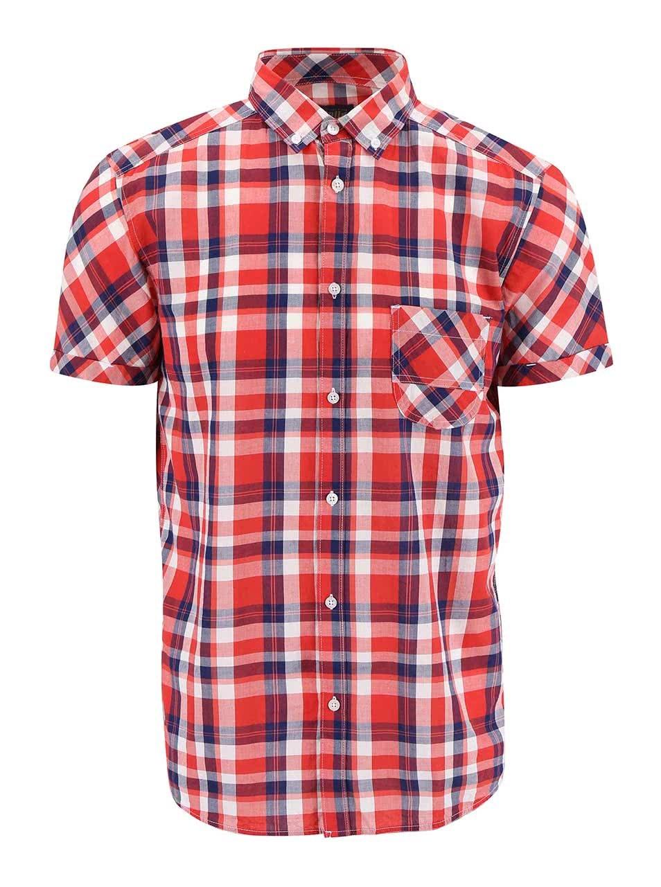 Červená károvaná košile s krátkým rukávem !Solid Cadman
