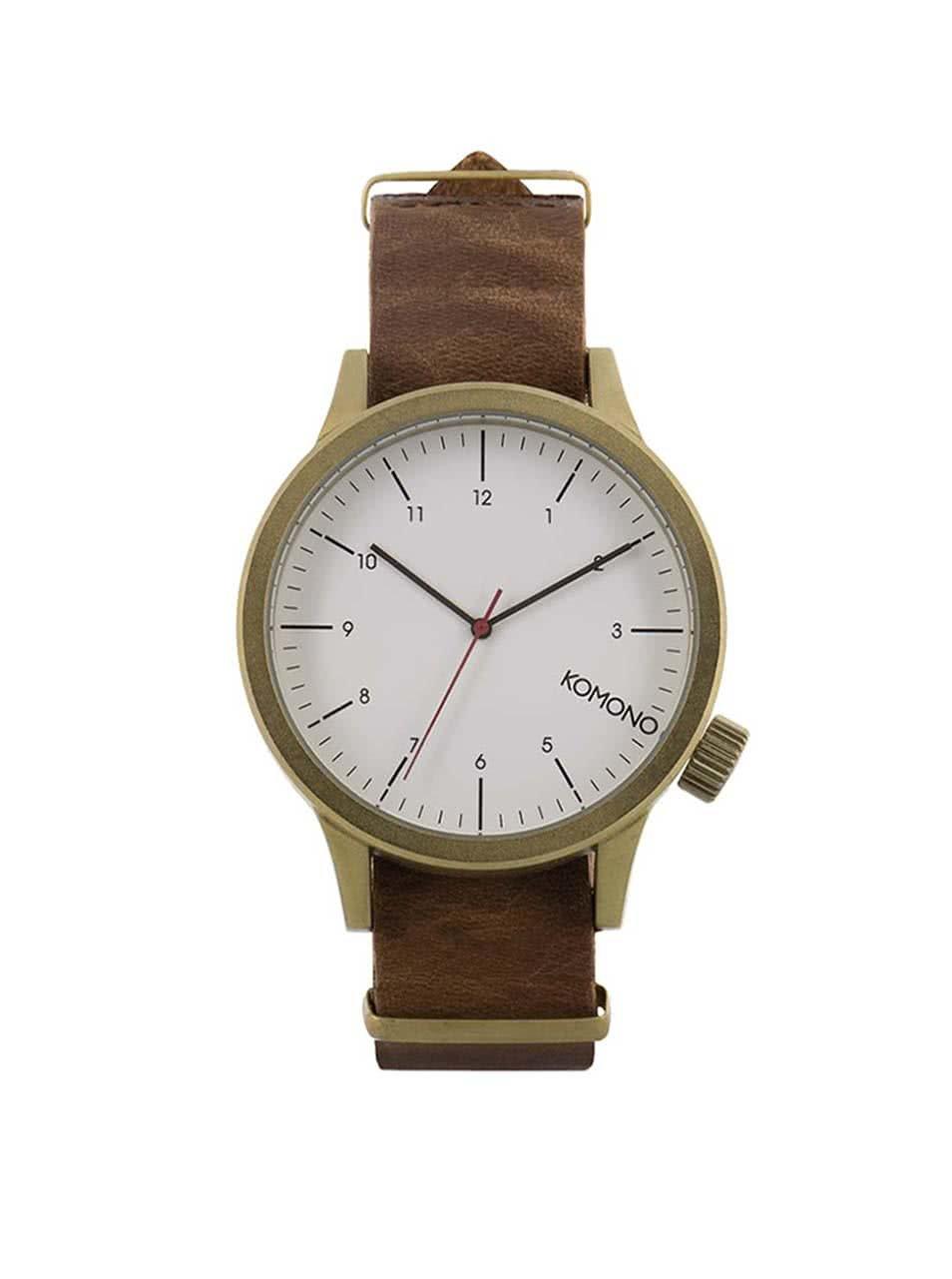 Unisex hodinky ve zlaté barvě s koženým páskem Komono Magnus