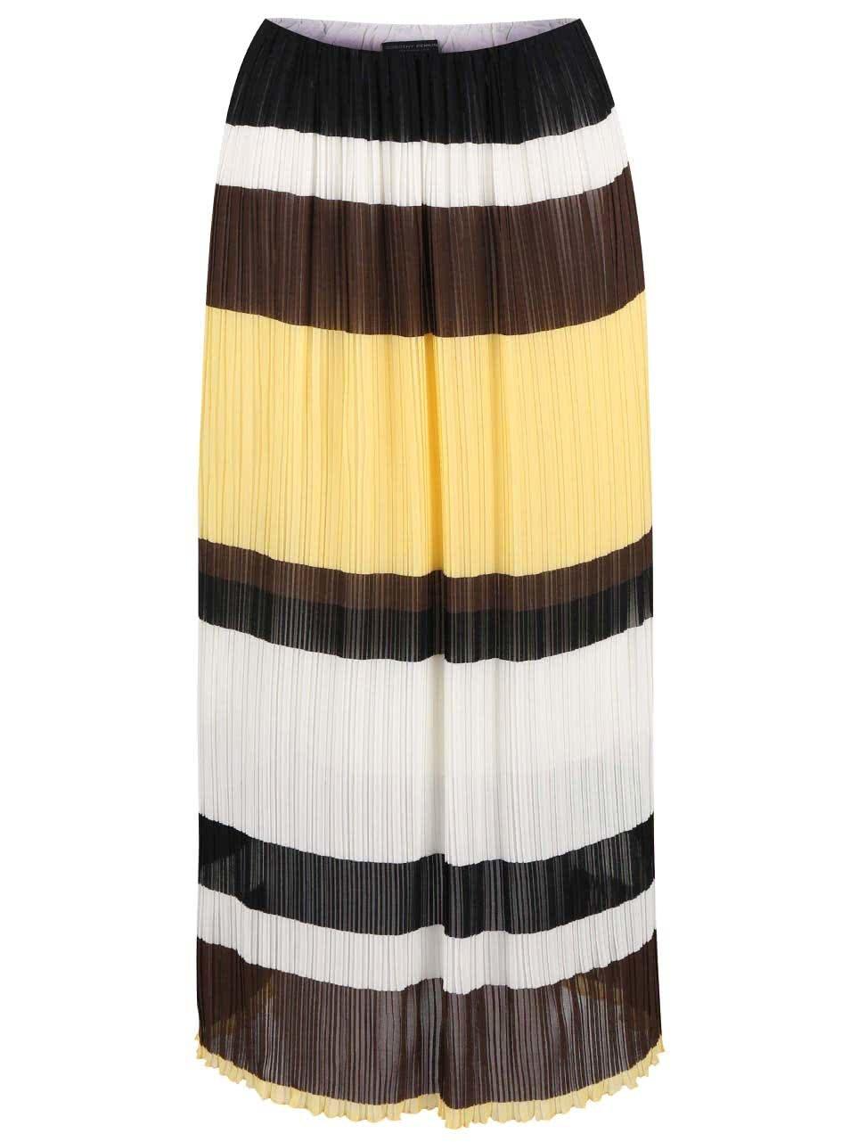 Hnědo-bílo-žlutá plisovaná midisukně Dorothy Perkins ŽENY   Šaty 10030bef99