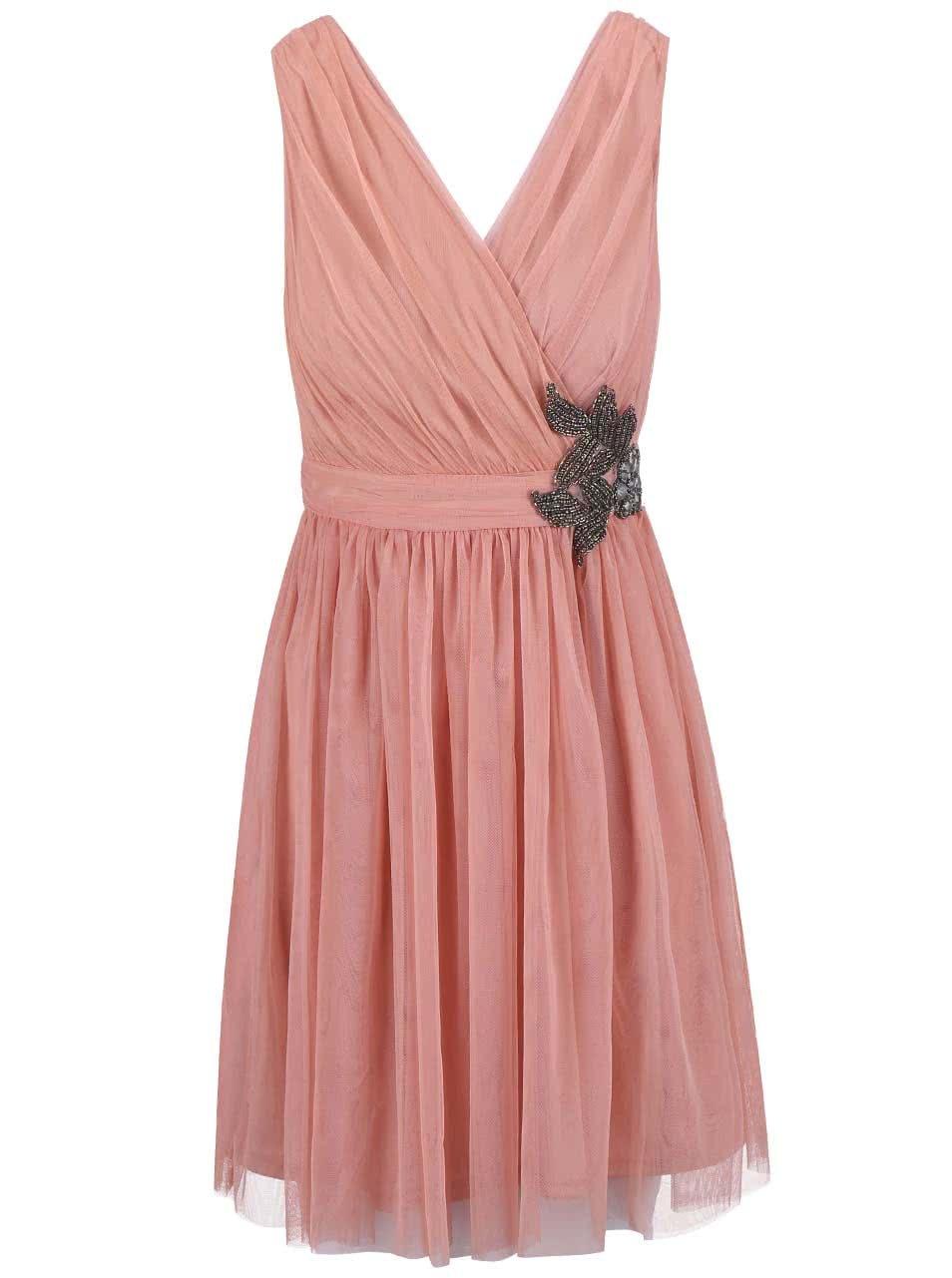 Růžové šaty s květinovým zdobením Little Mistress
