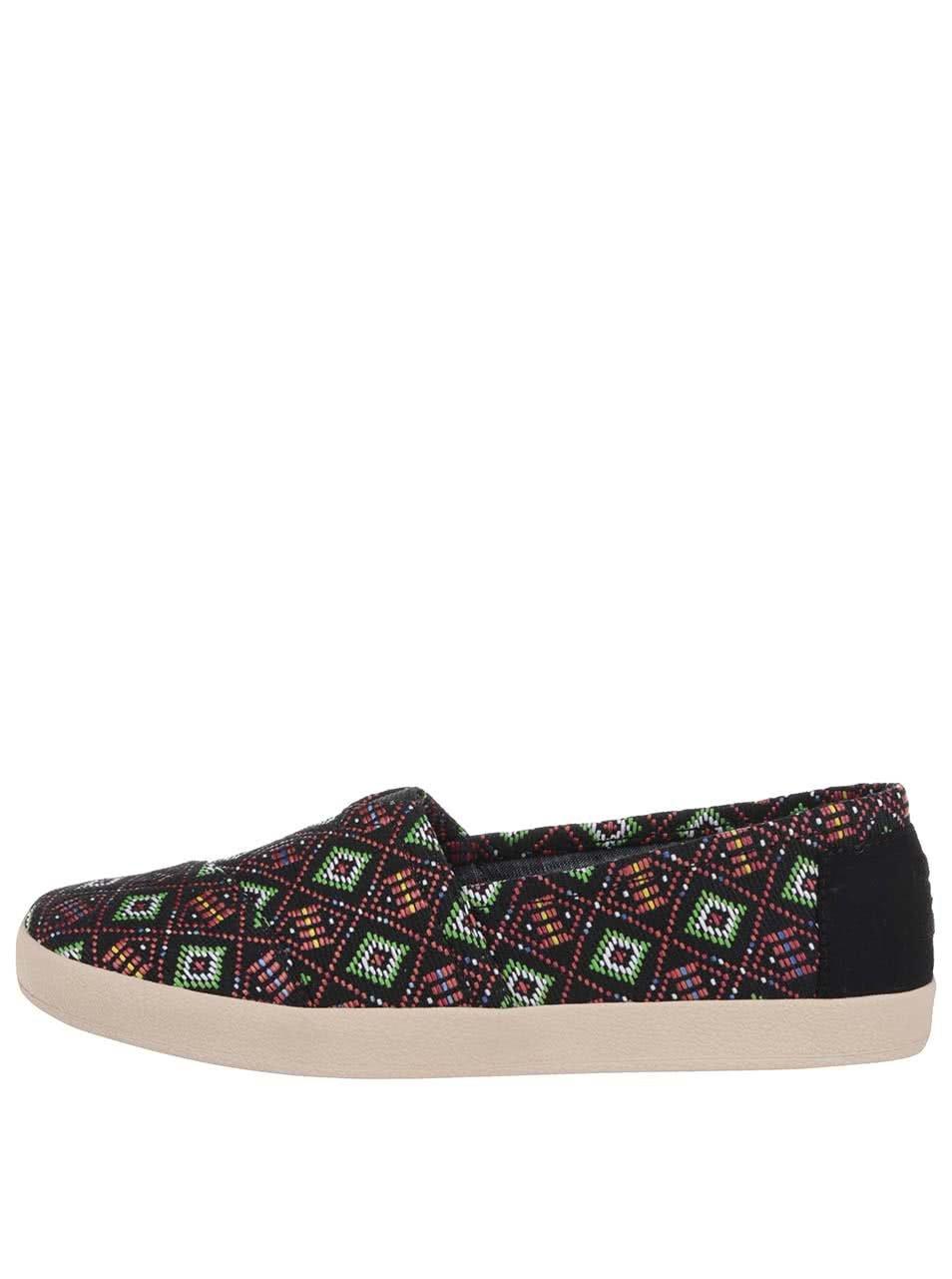 Černé dámské loafers s barevným vzorováním TOMS Avalon