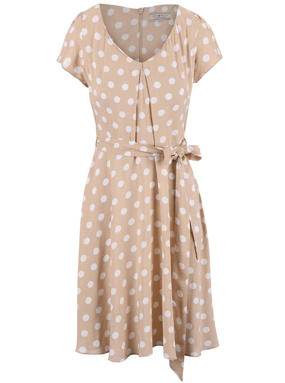 Béžové šaty s puntíky Dorothy Perkins