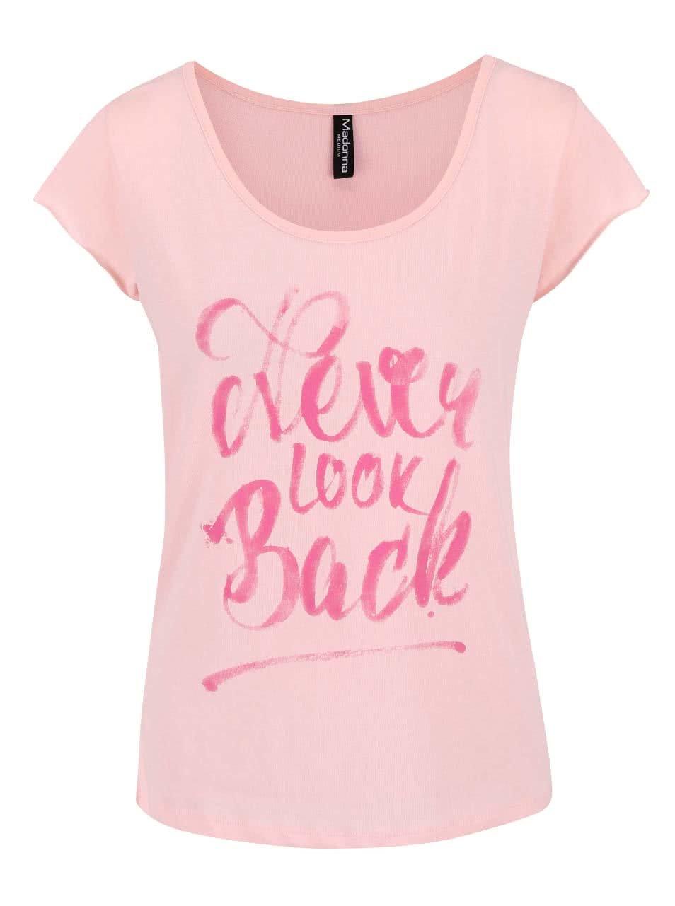 Růžové tričko s potiskem Madonna