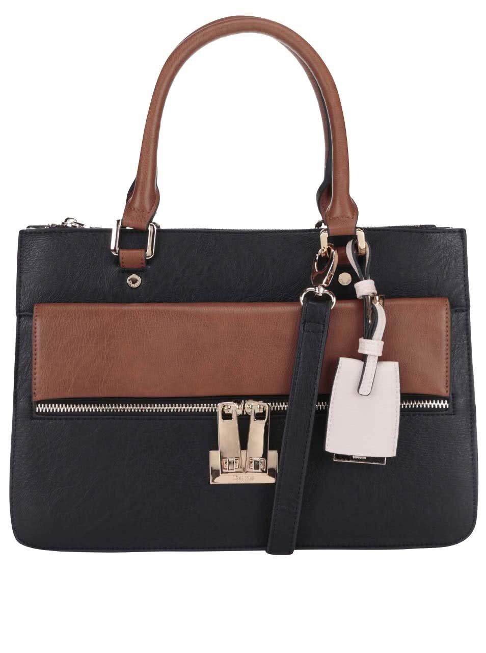 Černá kabelka se zipem a detaily v krémové a hnědé barvě Dune London Dizele