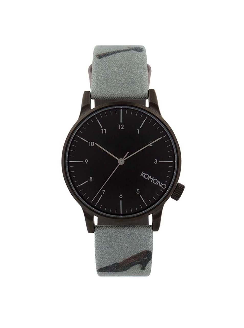 Černé pánské hodinky se vzorovaným textilním páskem Komono Winston