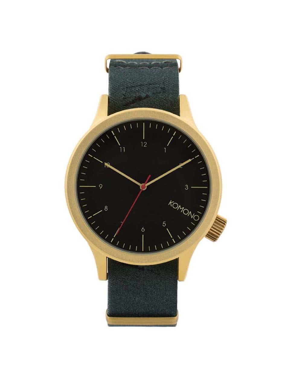 Pánské hodinky ve zlaté barvě s textilním páskem Komono Magnus