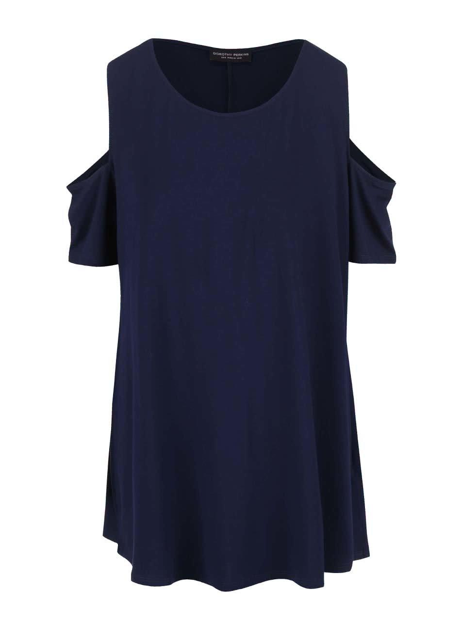 Tmavě modré tričko s průstřihy na ramenou Dorothy Perkins Curve