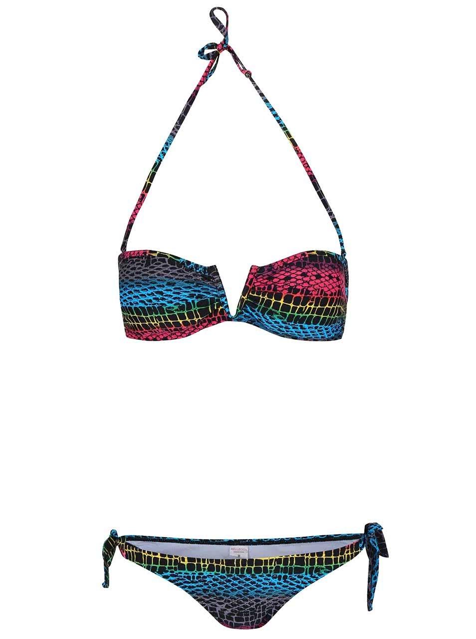 Černé dvoudílné plavky s barevnými vzory Relleciga
