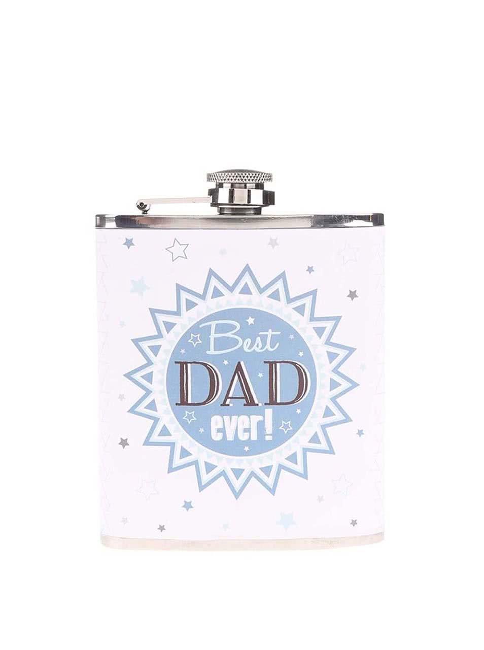Bílá placatka s modrým potiskem Sass & Belle Best Dad Ever