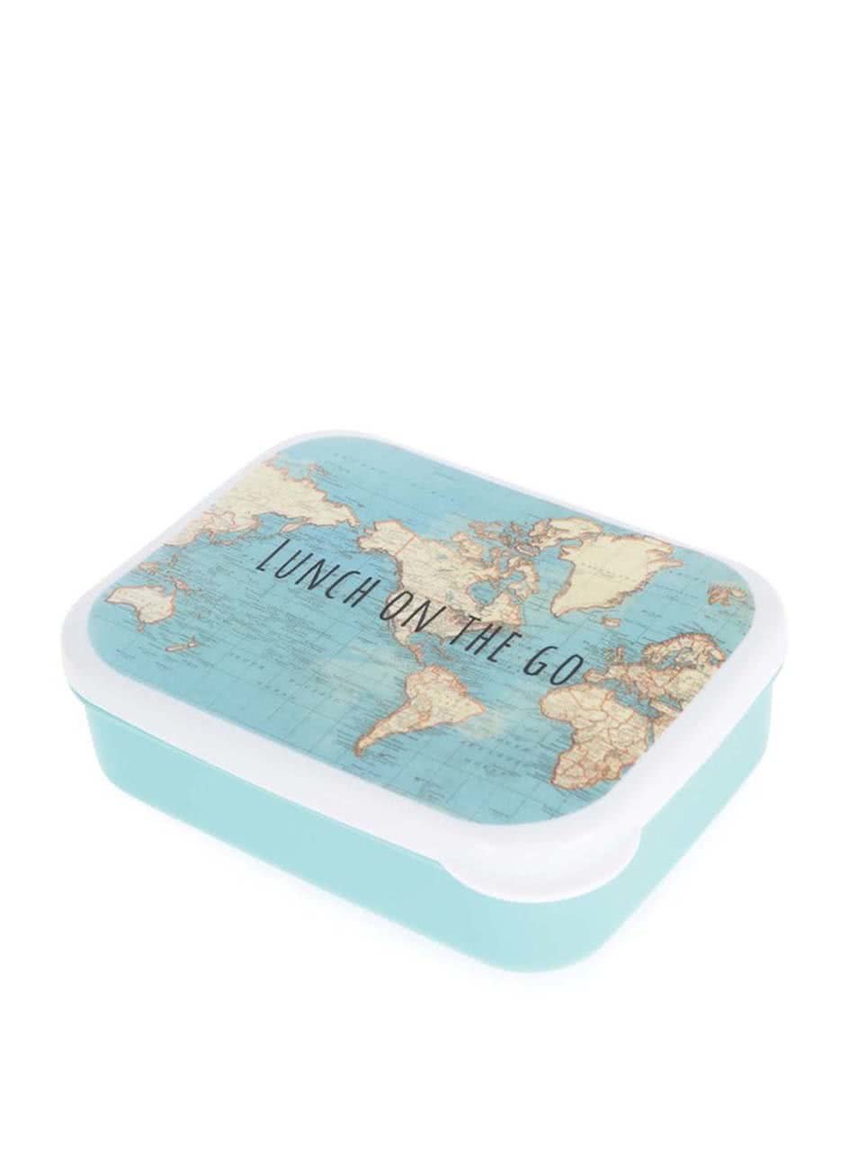 Tyrkysový box na jídlo s mapou světa Sass & Belle Vintage Map