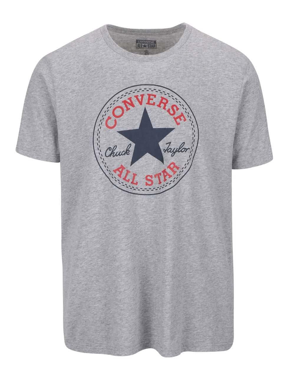 Šedé pánské triko s logem Converse