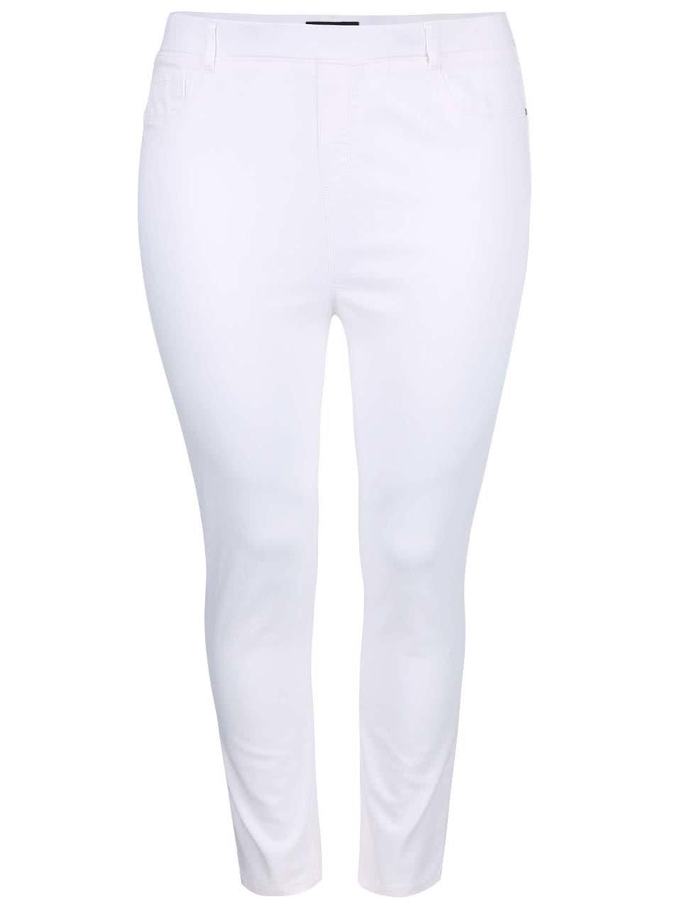 Bílé capri kalhoty s nižším sedem Dorothy Perkins Curve