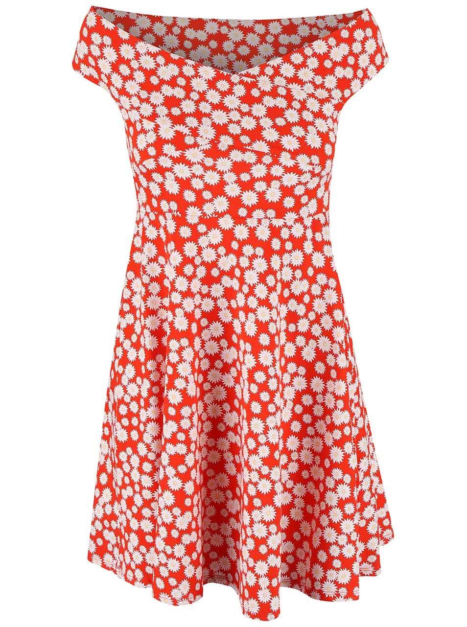 Červené květované minišaty s výstřihem na ramena Dorothy Perkins