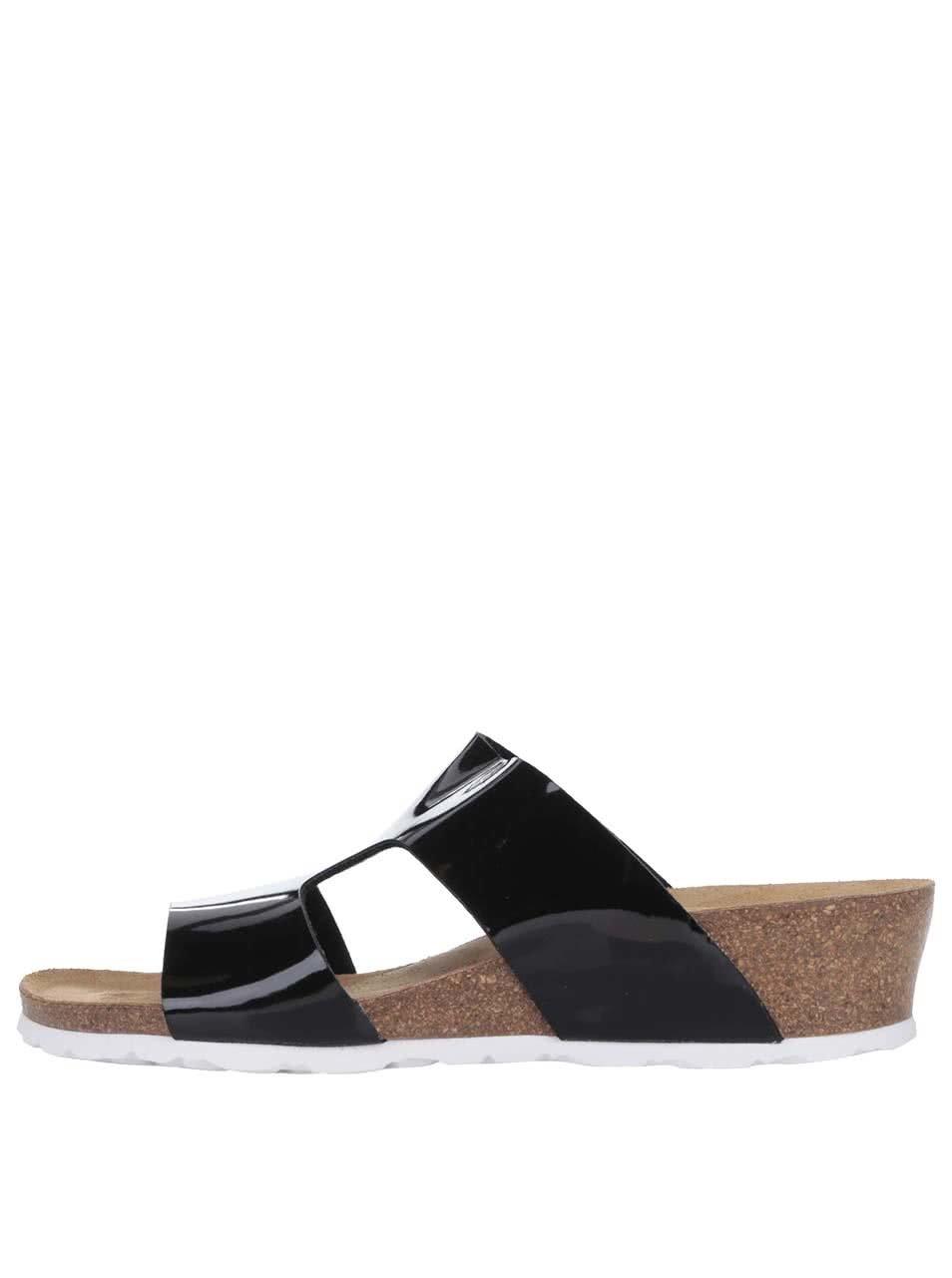 Černé lesklé dámské pantofle na platformě OJJU