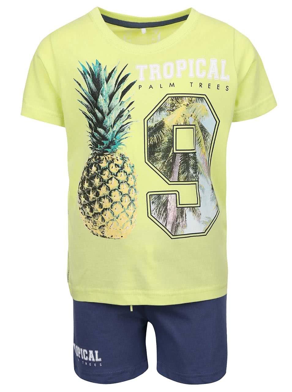 Limetkový klučičí set trička se šortkami name it Tilvo