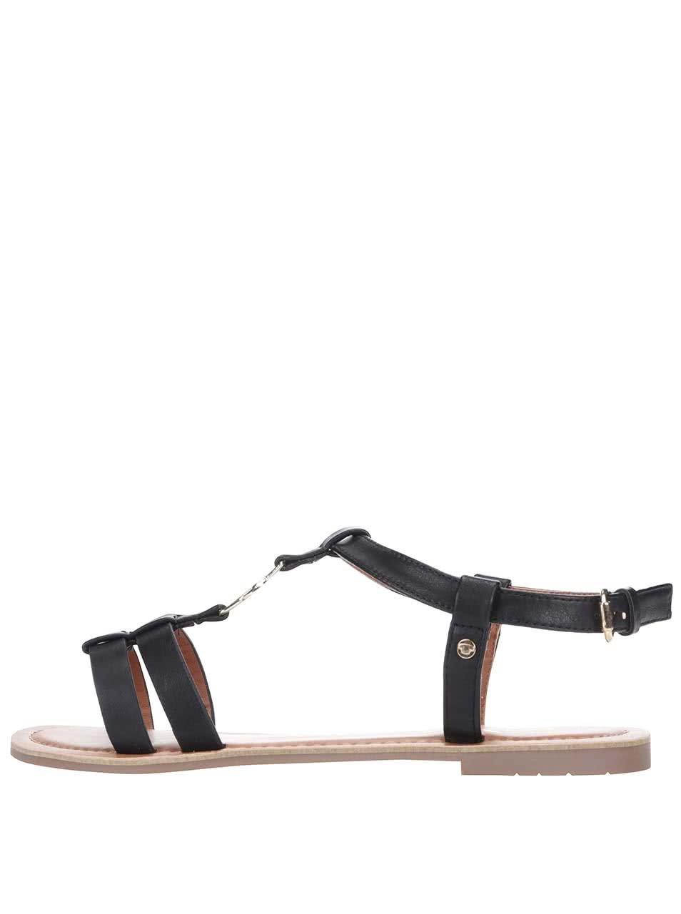 Černé sandály s detaily ve zlaté barvě Tom Tailor