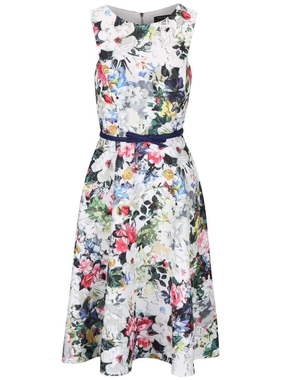 Bílé květované šaty s páskem Little Mistress