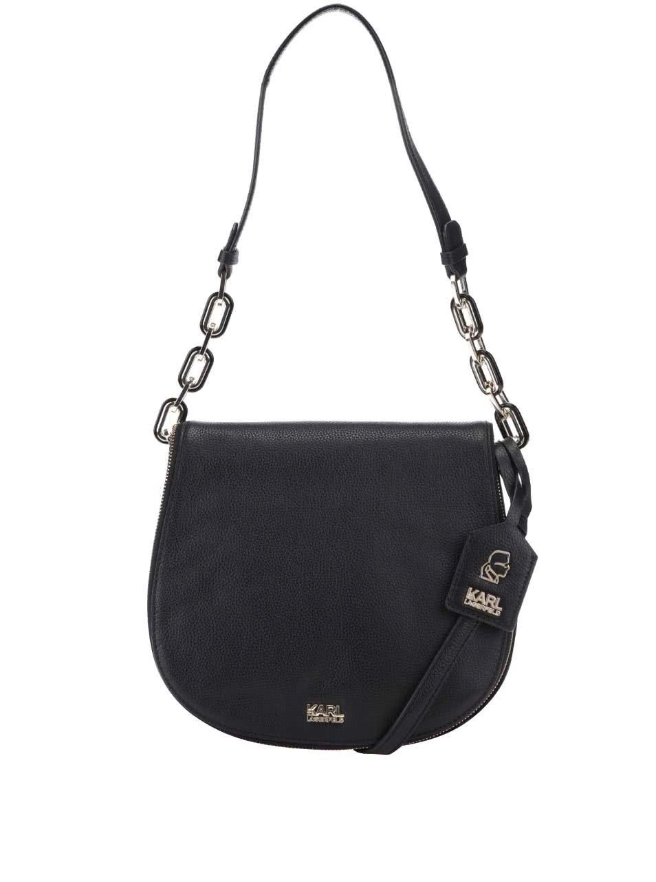 Černá kožená kabelka přes rameno KARL LAGERFELD