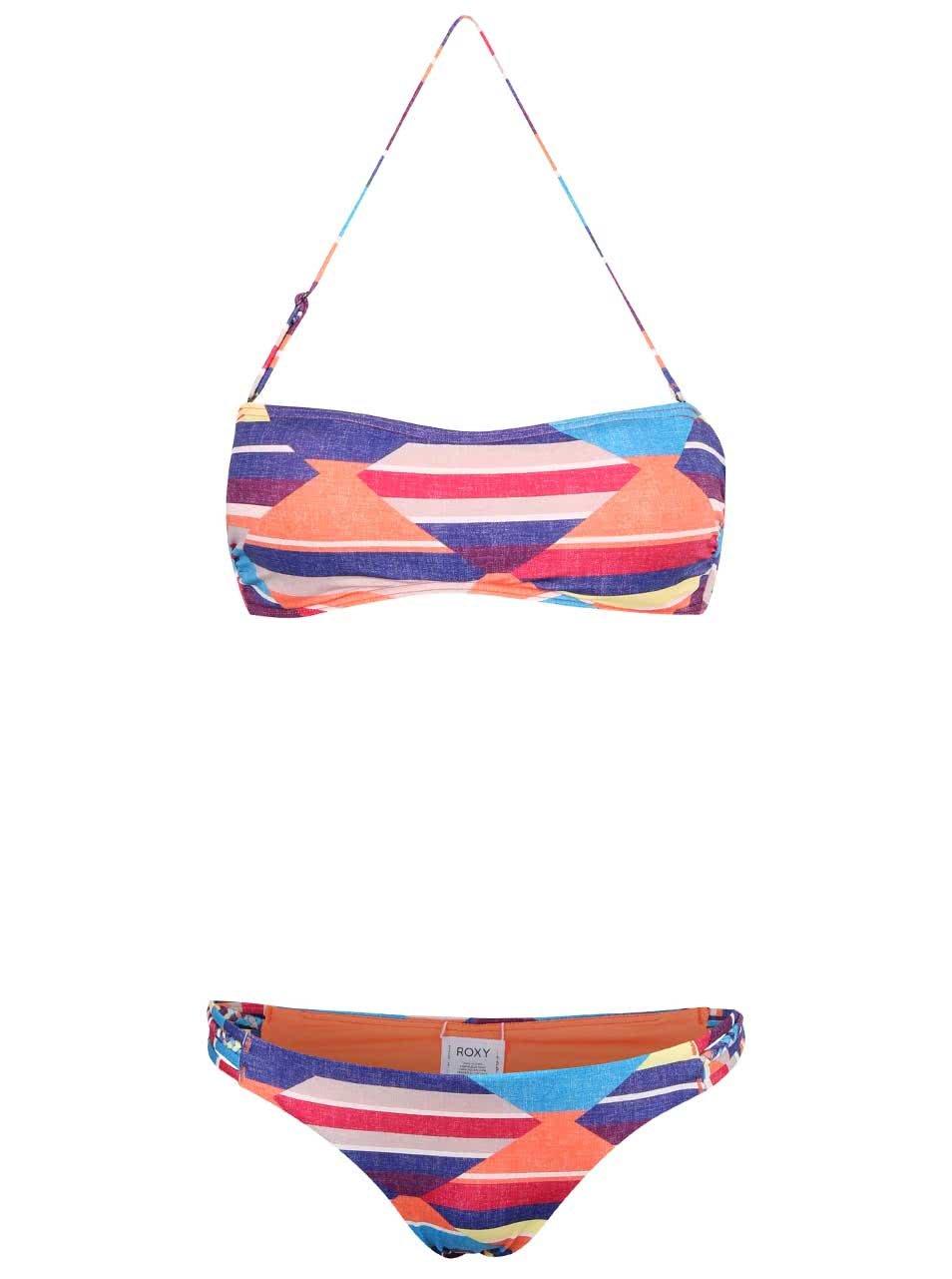Barevné plavky s geometrickým vzorem Roxy Bandeau/Heart Scooter