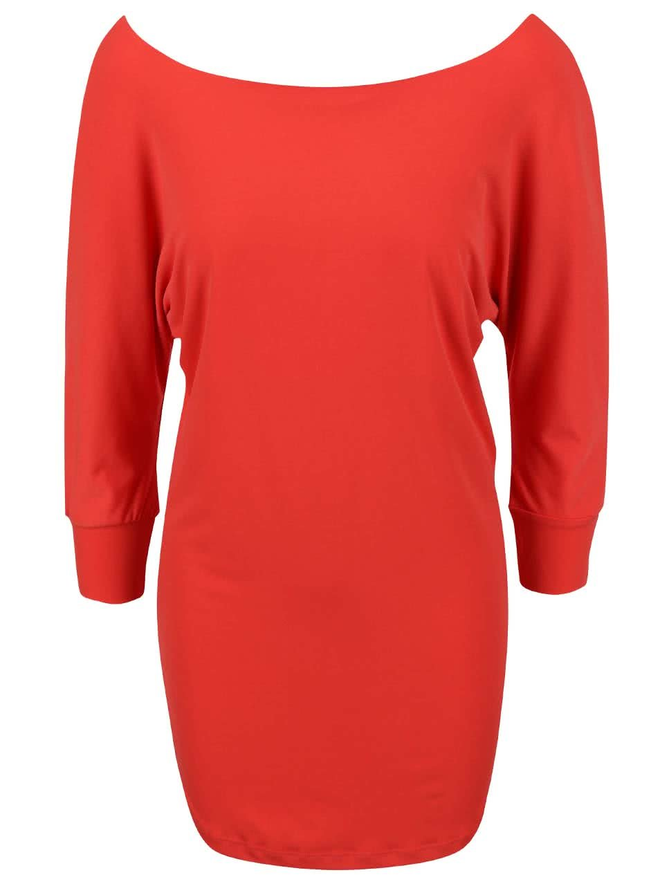 Korálové šaty s netopýřími rukávy Alchymi Salita