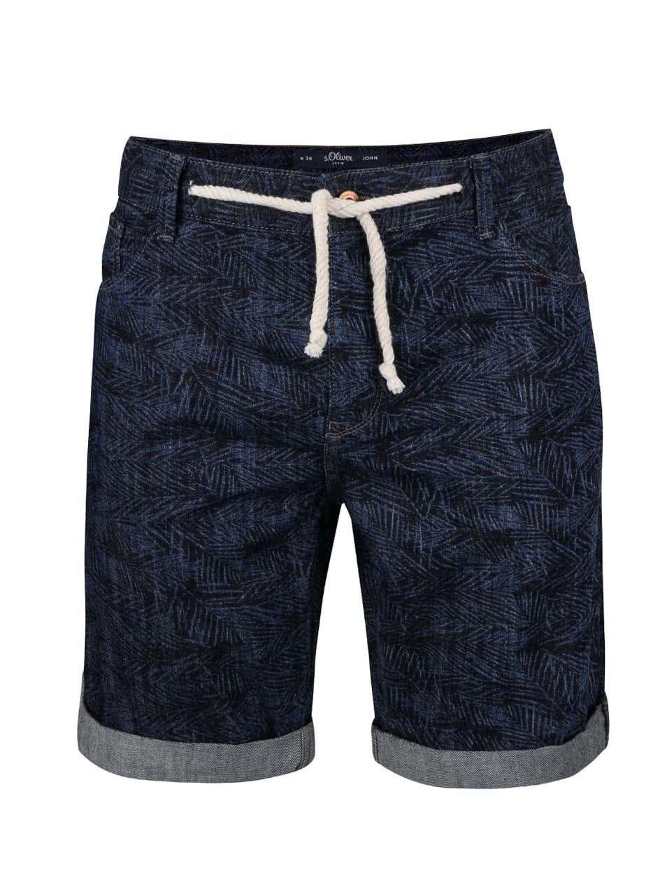 Tmavě modré vzorované pánské džínové kraťasy s.Oliver