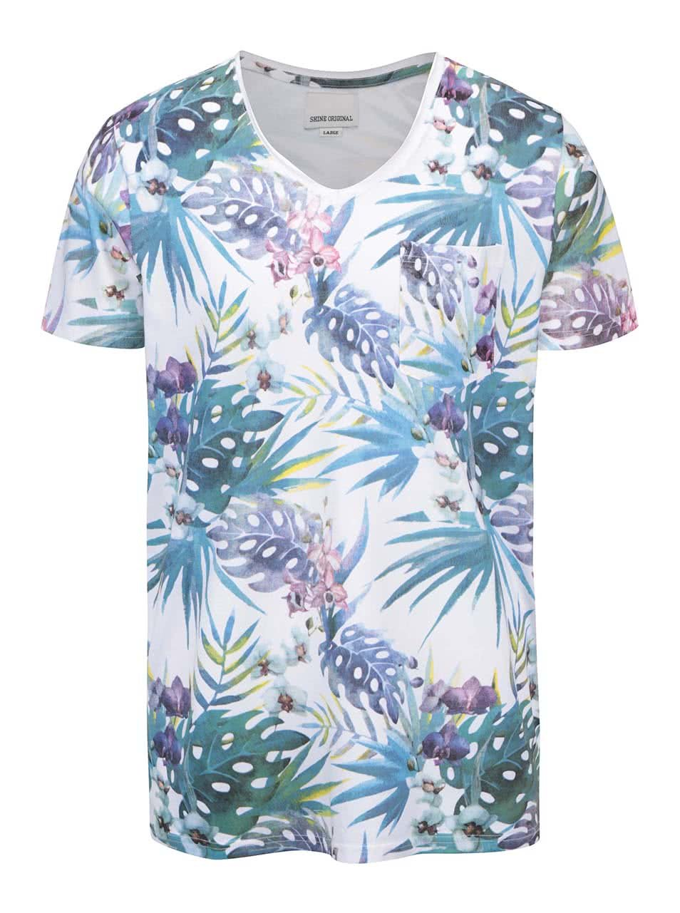 Bílé tričko s barevným potiskem Shine Original