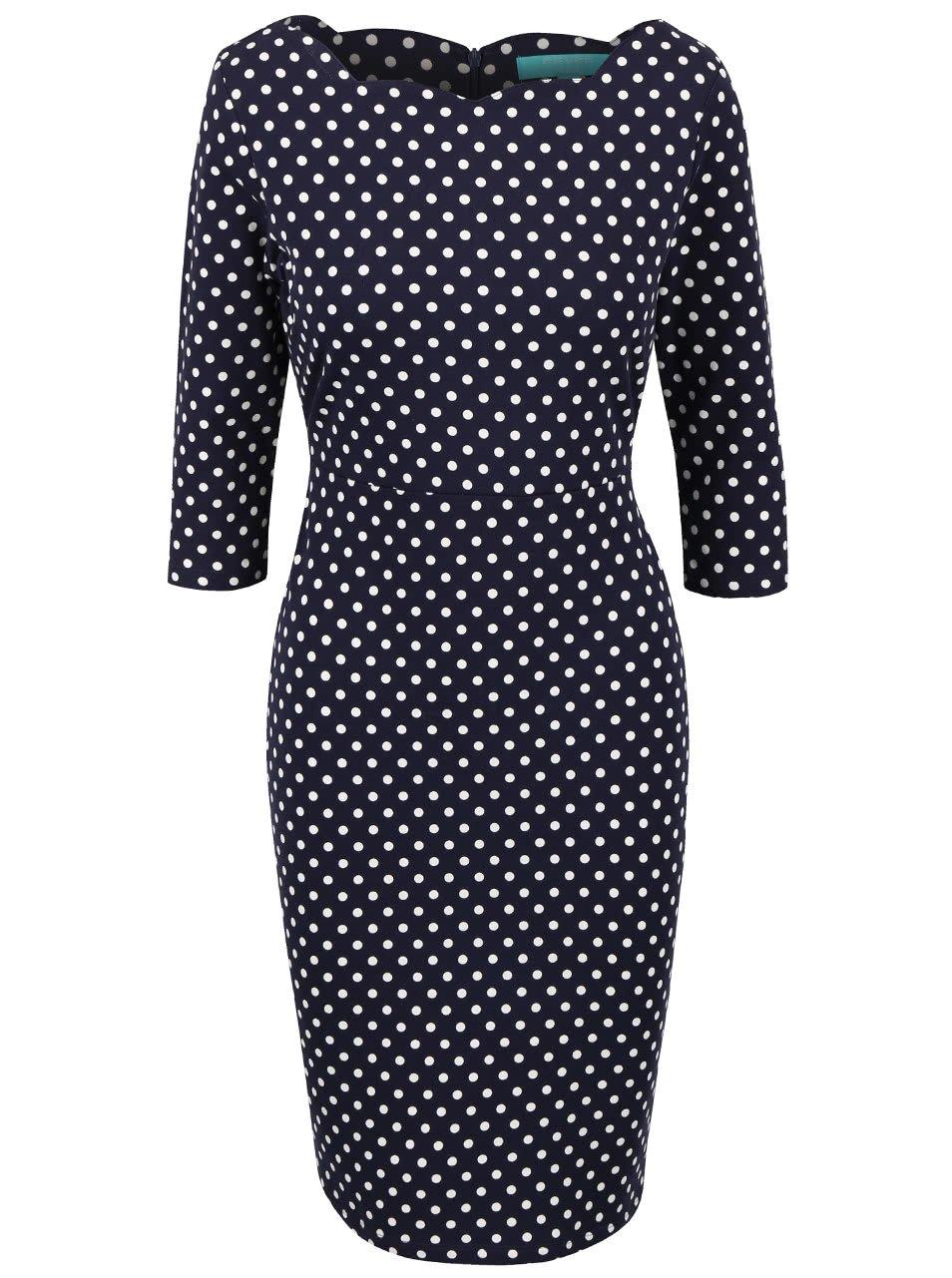 Modré puntíkované šaty s 3/4 rukávy Fever London Millie