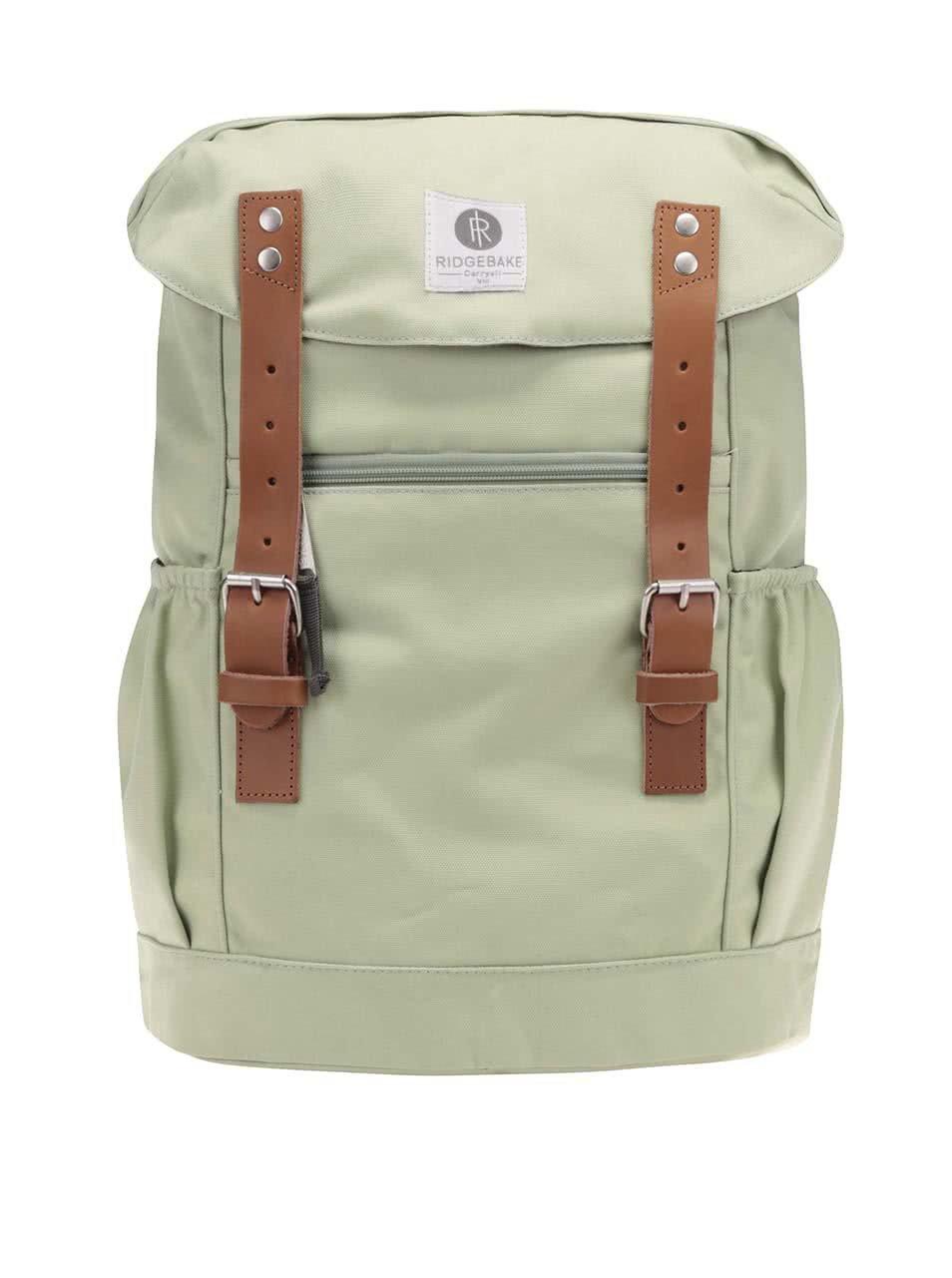 Světle zelený unisex batoh s hnědými přezkami Ridgebake Otone Canvas