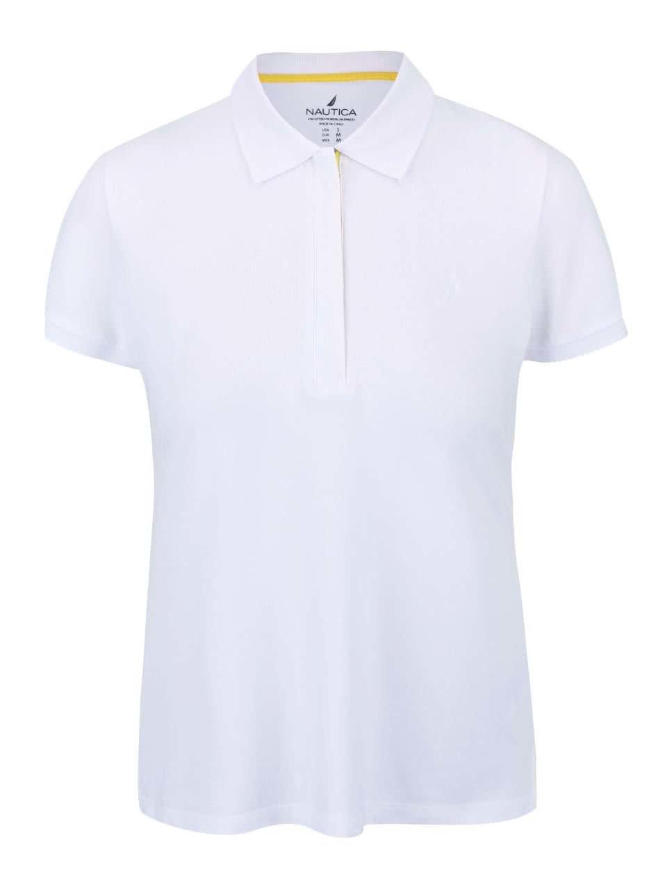 Bílé dámské polo tričko na zip se žlutým detailem Nautica