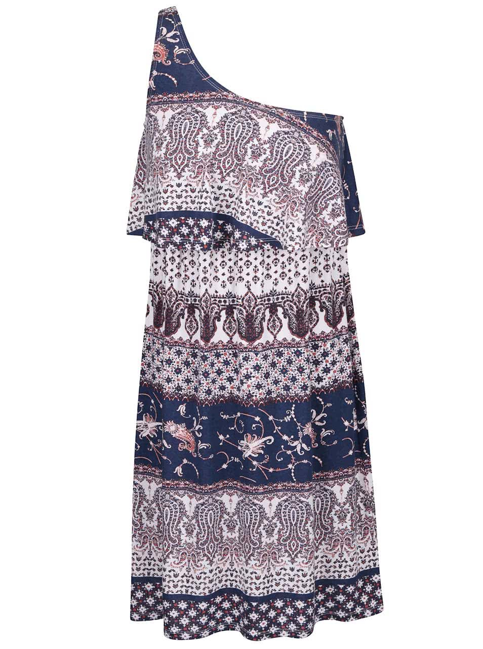 Modro-krémové vzorované šaty přes jedno rameno ONLY Nadia