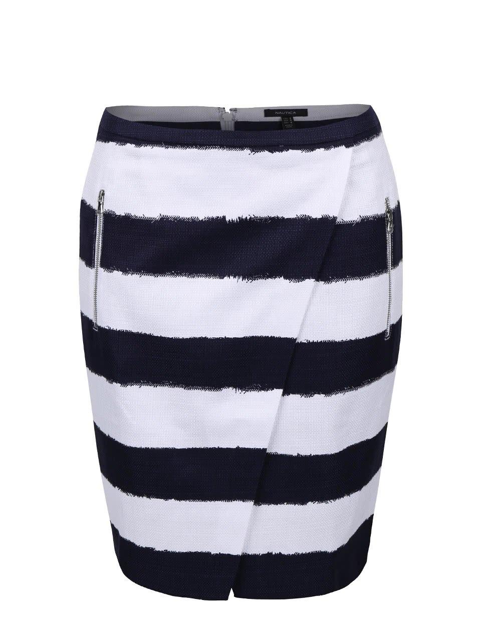 Bílo-modrá pruhovaná sukně s kapsami Nautica