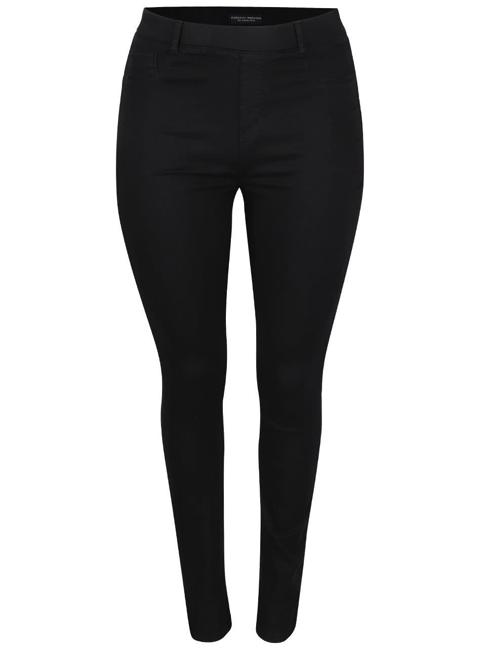 Černé elastické skinny džíny s prodlouženými nohavicemi Dorothy Perkins Curve