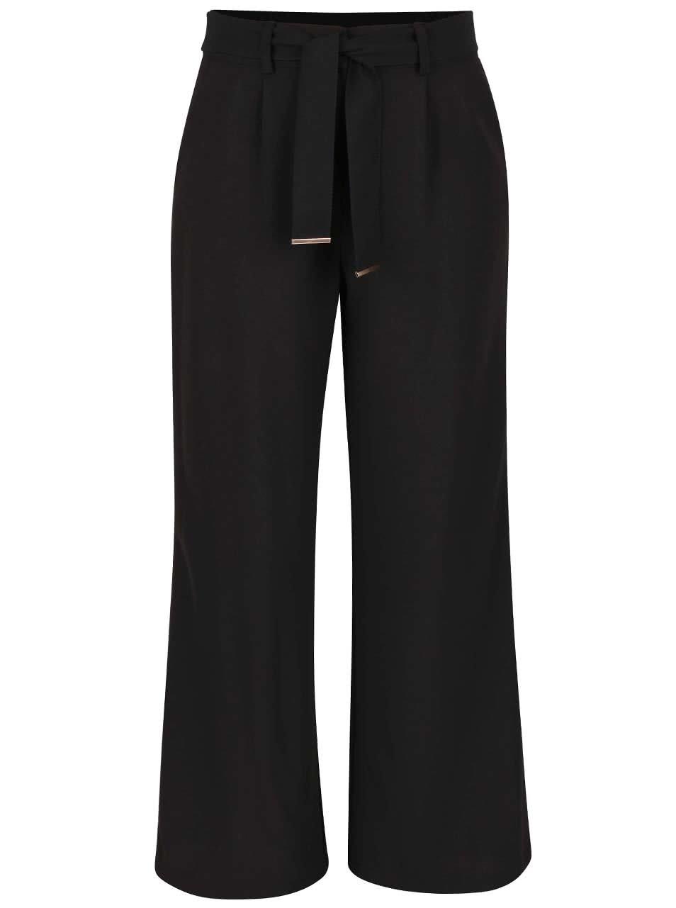 Černé volné kalhoty s páskem Dorothy Perkins