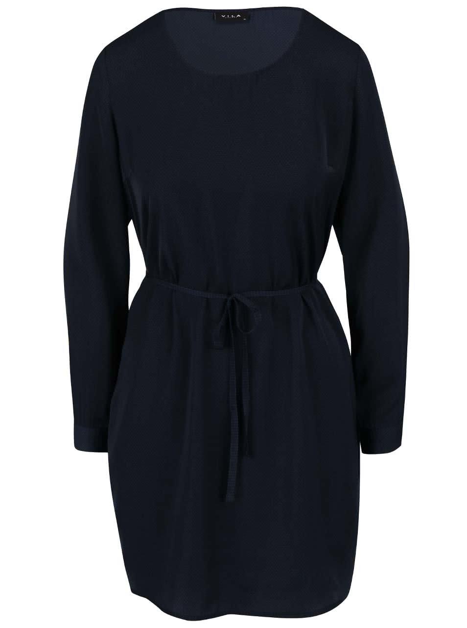 Tmavě modré puntíkované šaty s dlouhým rukávem VILA Melli