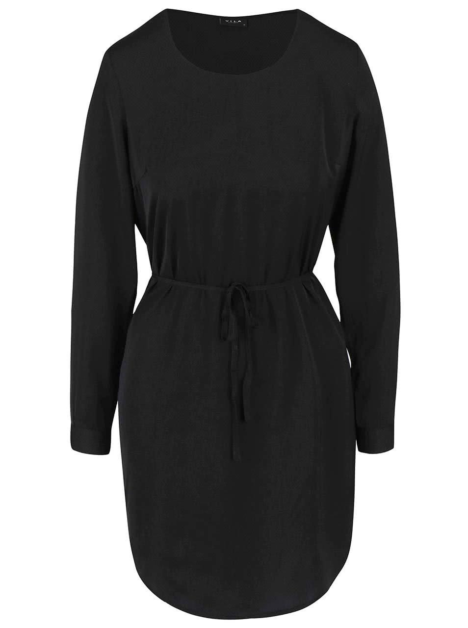 Černé puntíkované šaty s dlouhým rukávem VILA Melli