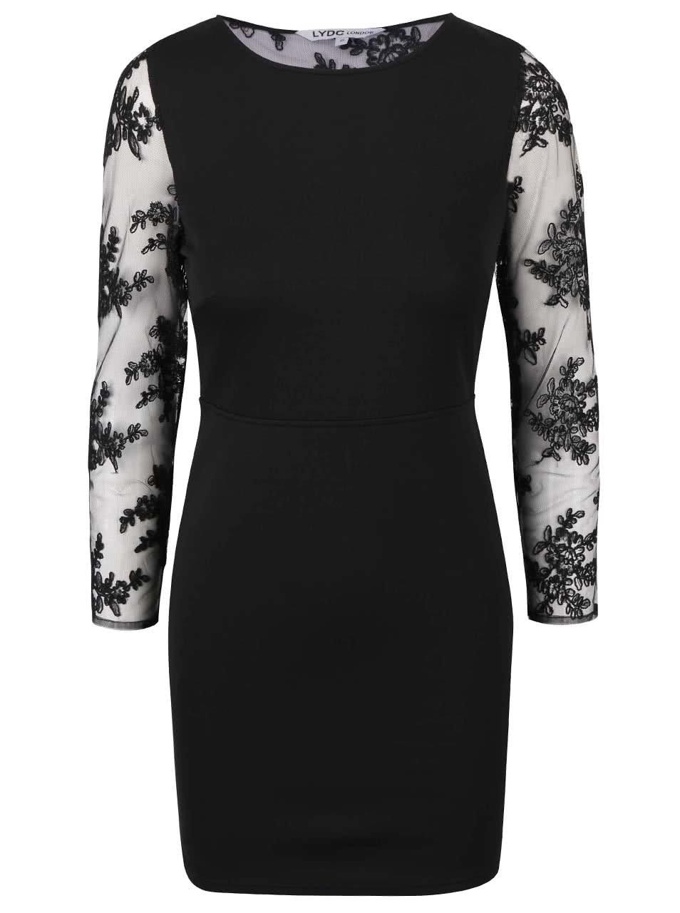 Černé šaty s krajkovými rukávy a zády LYDC